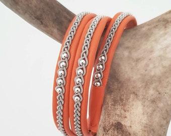 Triple wrap, Lapland Sami Bracelet, Reindeer leather, Custom made
