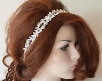 Rhinestone and Ivory Lace headband, Wedding Headband, Bridal Hair Accessory, Lace Wedding Head Piece, Wedding Hair Accessories