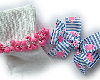 Kathy's Beaded Socks -  Preppy Whale Socks and Hairbow, girls socks, pony bead socks, blue socks, whale socks, hot pink socks