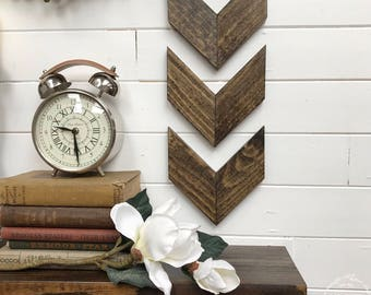 Small Wood Chevron Arrows // Set of 3 Wooden Stained Arrow // Gallery Wall Art // Rustic Handmade Decor