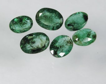 7.65 cts lot faceted emerald oval cut Zambia