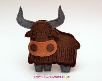 Felt YAK, stuffed felt Yak magnet or ornament, cute Yak, Yak toy, felt animal, home decor, Yak gift,cute animal, Nursery decor