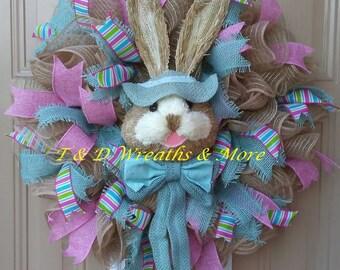 Easter Wreath, Bunny Wreath, Front Door Wreath, Spring Wreath, Spring Decor, Easter Rabbit Wreath, Front Door Decor, Best Door Decor