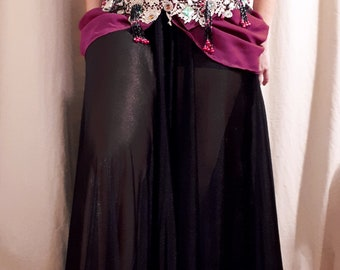 black handmade belly dance costume
