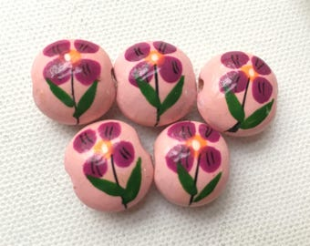 Peruvian Ceramic Flower Round Disc Bead, 15mm pink and purple (set of 5)