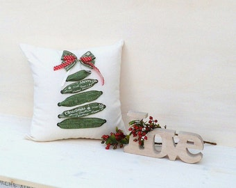 Christmas pillow, white pillow, Christmas tree pillow, green pillow, Christmas gift, handmade pillow, gift for mom