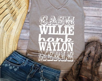 Cash Willie Hank Waylon Merle Shirt Women's Country Shirts Music Festival Outfit Top Country Clothing  Country Concert T-shirt  V-neck Shirt