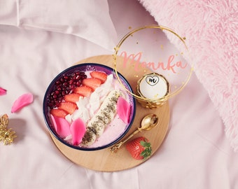Styled Stock Photo. Smoothie bowl with fresh berries, seeds and fruits. Healthy breakfast in the bed Healthy food blog photo Instagram Image