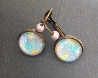 Cabochon 12 mm pastel multicolored earrings