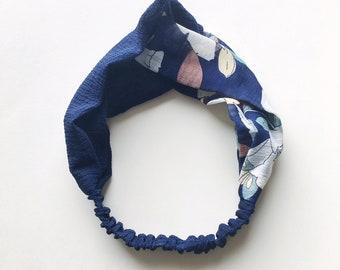 Phyllis Fabric Headband - Turban headband - Half Florals - Boho headband - Womans headband - Adult headband - Navy fabric headband