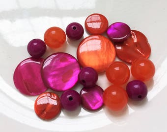 bright eco friendly fuschia purple and orange polished shell disc and acrylic glassround beads--mixed lot of 16