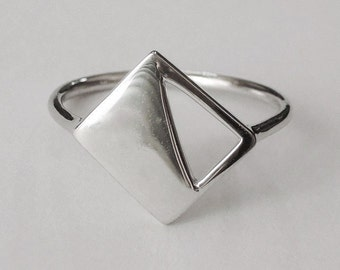 half triangle ring, geometric ring, triangle, silver triangle ring, minimalist ring, triangle rings, geometric jewelry, everyday ring