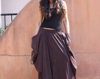Long Skirt / Maxi Skirt / Long Boho Skirt / Full Length Skirt / Cotton Skirt / Modest Skirt / Plus Size Skirt / Color Brown