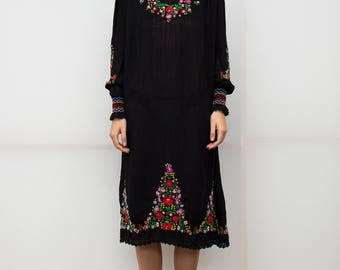RESERVED vintage 1940 embroidered hungarian crepe black tent dress crochet trim colorful peasant long dress flower embroidery