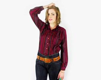 Ascot Blouse Bow-Tie Blouse Neck-Tie Blouse Stripe Blouse Stripe Shirt Metallic Thread Western Shirt Western Blouse Yoke 70s Hippie M Medium