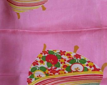 "Vintage 1940's Japanese  silk kimono fabric 75 cm x 36 cm (29"" x 14"") lightweight  pink juban silk w/ bright bobbins"