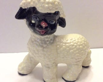 Vintage bubble glass black face lamb figurine. 1950s home decor. Free ship to US