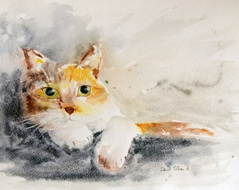 """Lying red and  white cat with green eyes original painting - Original watercolor, original cat watercolour - pet painting - 16"""" x 12"""""""