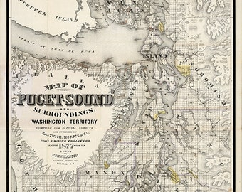 Map of Puget Sound And Surroundings, Washington, WT, 1877.  Vintage restoration hardware home Deco Style reproduction map print.