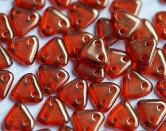 6mm CzechMates Triangle Beads - Orange Luster Czech Mates Triangle - Sunset -  Picasso Czech Glass Beads - Two Hole Beads - Bead Soup Beads