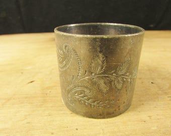 Shabby Edwardian Silver Plate Napkin Ring Etched Monogram MM