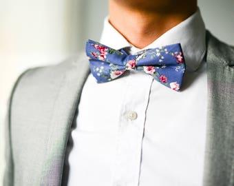 Silver Blue Floral Bow Tie, Vintage Floral Bow Tie, Wedding Bow Tie, Blue Floral Bow Tie