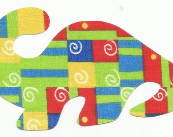 Red, Green, Blue and Yellow Geometric Colored Dinosaur Fabric Iron On Applique