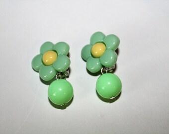 Green flower earrings