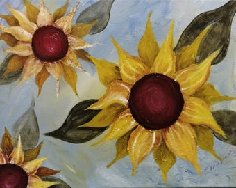 Spring Sunflowers Acrylic Painting