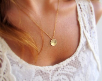 Gold necklace, Dainty gold necklace, Gold disc necklace, Gold coin necklace, Tiny disc necklace, Minimalist jewelry, Trendy necklace