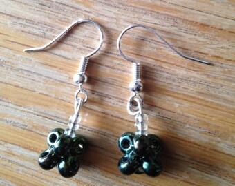 Minimalist green iridescent drop beaded earrings