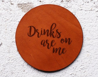 Leather gift ideas for him, Leather Coaster, Leather gifts for Christmas, Vegetable tanned leather, Drinks on me, Gifts for homeowner,drinks