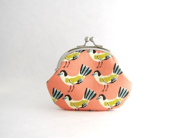 Birds on pink Coin Purse - Change Purse - Mini Pouch - Womens Purse - Coin Pouch - Jewelry Purse - Purse Accessories - Gift for Her