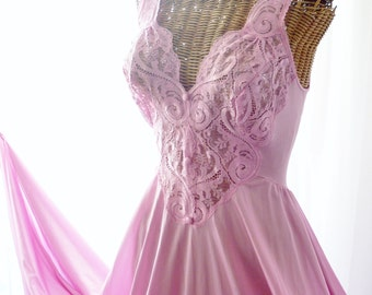 Olga Pink Lace Long Nightgown Button Front Unworn U.S.A. Made Not An Import Xl