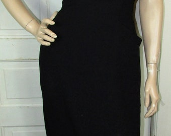 1940 Pencil Wiggle Dress Vintage 40s Black Lace Huge BOW Tailor Fit Pencil PIN-UP Hollywood M/L