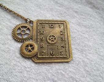 Clock Face Necklace, Rectangular Clock, Cogs Watch Face, Antique Vintage Look