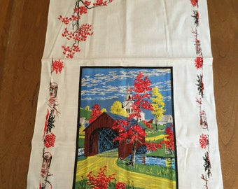 Shipping Included - Vintage Kay Dee Stephen Hamilton Covered Bridge Tea Towel Linen- Shipping Included
