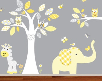Wall Decal Nursery.Wall Decals. Tree Decal. Jungle Tree Decal. Monkey Decal