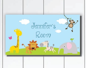 Personalized Kids Door Sign Plaque, Cute and Fun Jungle Friends, Nursery Wall Art