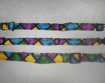 HALF PRICE CLEARANCE Mardi Gras squares Fabric Dog Collars, Breakaway Cat collars pet collars that are Adjustable and Reinforced