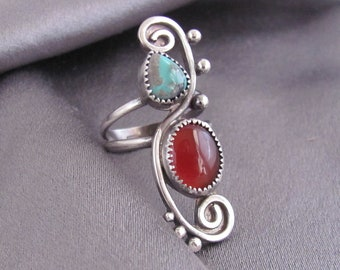 Carnelian and Turquoise Sterling Silver Whimsy Ring OOAK Size 7 3/4 - 8