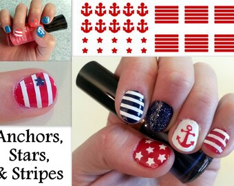 Nautical Nail Decals with Anchors, Stripes and Stars