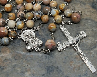 Gemstone Rosary of Moroccan Agate, Men's Rosary, Sacred Heart, 5 Decade Rosary, Catholic Rosary, Agate Rosary