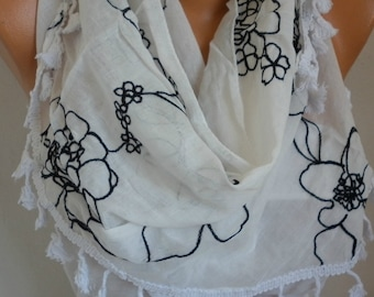 Black& White Embroidered Tassel Triangle Scarf,Spring Accessories, Cotton, Cowl Scarf, Gift Ideas For Her, Women Fashion Accessories Scarves