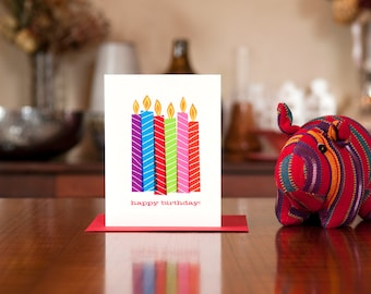 Candy Colored Candles Birthday Card on 100% Recycled Paper