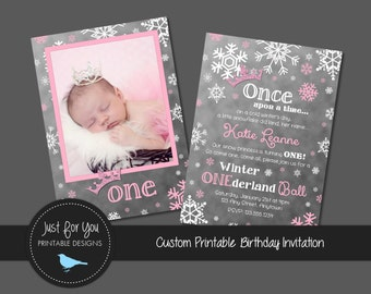 Winter ONEderland Snowflake Ball Birthday Party Invitation - Turquoise, Pink, Mint, Gold, Silver or Custom - YOU PRINT Printable DIY Invite