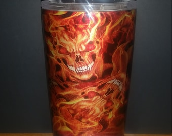 Stainless steel 20oz flame skull tumbler