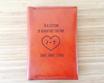 Leather Passport Holder, Husband Boyfriend Gift, Third Leather Anniversary Gift, Passport Cover, Groom Gift From Bride, Bride to Groom,