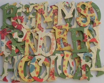"COUNTRY CHIC -  Chipboard Letters &  Flower Die Cuts  - 1.5"" inch Tall"