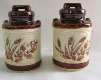 Vintage Salt and Pepper Shakers ~ Brown Milk Jug ~ Wheat and Flowers ~ 1960s